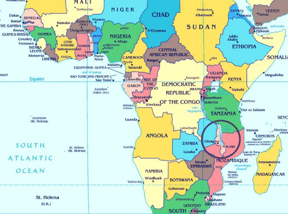 Cartina Mondo Orientale.Malawi Paese Mappa Malawi Paese Nella Mappa Del Mondo Africa Orientale Africa